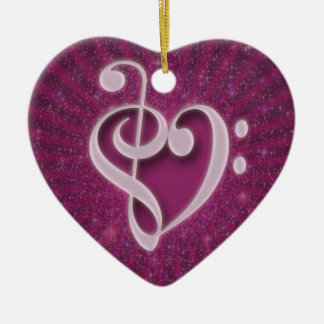 Beautiful music notes put together as a heart Double-Sided heart ceramic christmas ornament
