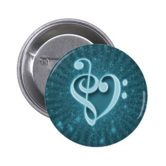 Beautiful music notes put together as a heart pinback button