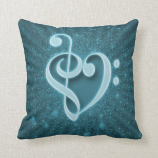 Beautiful music notes put together as a heart throw pillow