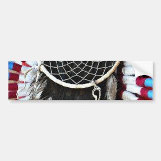 Beautiful Native American Dream Catcher Red Blue Bumper Sticker