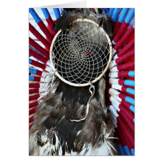 Beautiful Native American Dream Catcher Red Blue Card