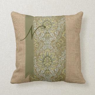 Beautiful Natural Burlap Green Damask Ribbon Dots Throw Pillows
