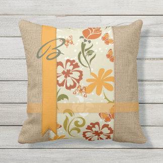 Beautiful Natural Burlap Orange Flower Butterflies Outdoor Pillow