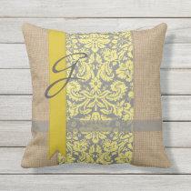 Beautiful Natural Burlap Yellow Gray Damask Ribbon Throw Pillow