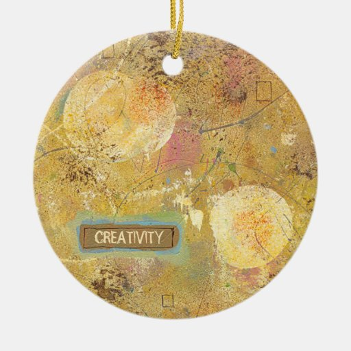 Beautiful natural fun abstract art unique painting Double-Sided ceramic round christmas ornament