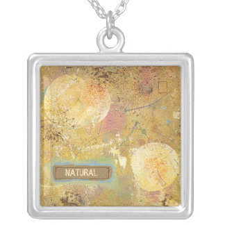 Beautiful natural fun abstract art unique painting square pendant necklace