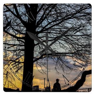 Beautiful Nature Sunset Landscape Photo Square Wallclock