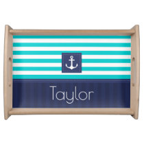 Beautiful Nautical Striped Anchor Custom Name Serving Tray