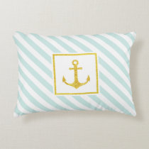 Beautiful Nautical Stripes Faux Glitter Anchor Decorative Pillow