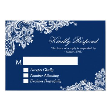 CardHunter Beautiful Navy Blue Lace Wedding RSVP Reply Card