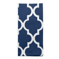 Beautiful Navy Blue Quatrefoil Tiles Pattern Napkin