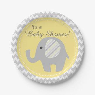 Beautiful Neutral Baby Shower Custom Elephant Paper Plate