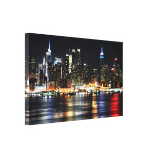 Beautiful New York Night Lights Reflecting River Canvas Prints