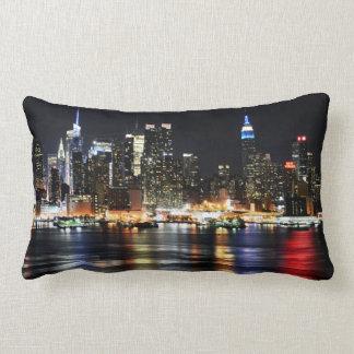 Beautiful New York Night Lights Reflecting River Lumbar Pillow