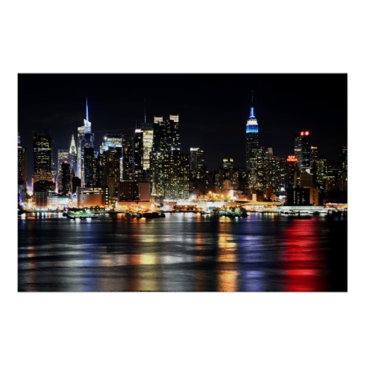 Beautiful New York Night Lights Reflecting River Posters