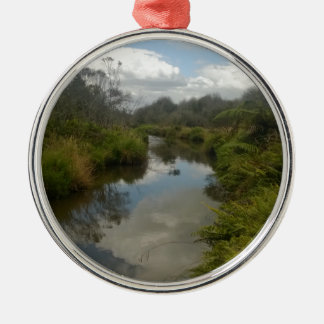Beautiful New Zealand Landscape. Quiet, reflective Round Metal Christmas Ornament