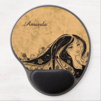 Beautiful nice girl, sepia personalized gel mouse pad