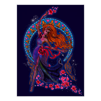 Beautiful night goddes fairy flies with moon poster