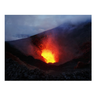 Beautiful night volcanic eruption postcard