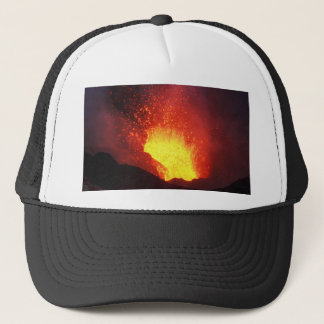 Beautiful night volcanic eruption trucker hat
