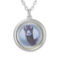 Beautiful Nubian Goat Painted Portrait Silver Plated Necklace