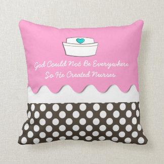 Beautiful Nurse Pillow Pink and Polka Dots