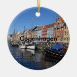 Beautiful Nyhavn, Copenhagen in Denmark Double-Sided Ceramic Round Christmas Ornament