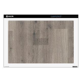Beautiful Oak Wood Pattern Monogram Laptop Skin