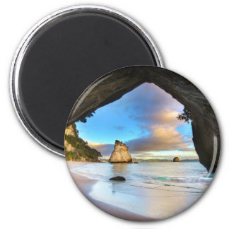 Beautiful Ocean Rock Arch Formation on Beach 2 Inch Round Magnet