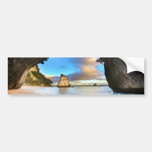 Beautiful Ocean Rock Arch Formation on Beach Bumper Stickers