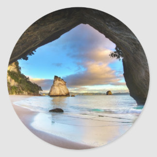 Beautiful Ocean Rock Arch Formation on Beach Classic Round Sticker