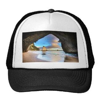 Beautiful Ocean Rock Arch Formation on Beach Trucker Hat