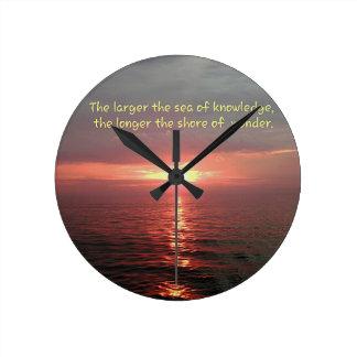 Beautiful Ocean Sunrise Inspirational Quote Round Clock