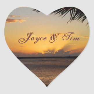 Beautiful ocean sunset heart sticker