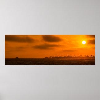 Beautiful Ocean Sunset Panorama Poster