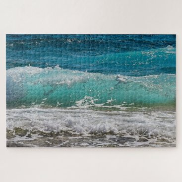 Beach Themed Beautiful Ocean Waves Landscape Photograph Jigsaw Puzzle