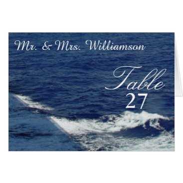 Beach Themed Beautiful Ocean Waves Wedding Table Tent Cards
