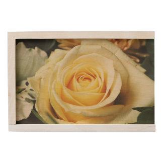 Beautiful Off White Cream Rose Wooden Keepsake Box