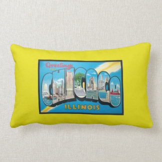 Beautiful Old Bright Yellow Greetings From Chicago Pillow