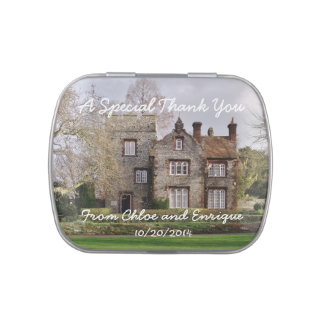 Beautiful Old Building Personalized Wedding Jelly Belly Candy Tin