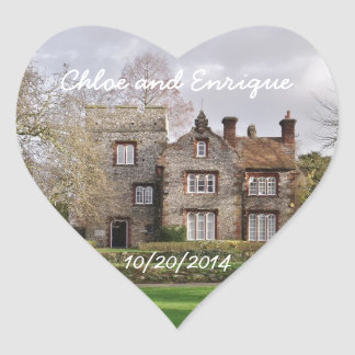 Beautiful Old Building Personalized Wedding Heart Sticker