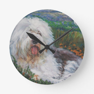 Beautiful Old English Sheepdog Dog Art Painting Round Clock