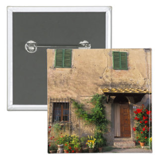 Beautiful old home with flowers at San Gimignano Pinback Button