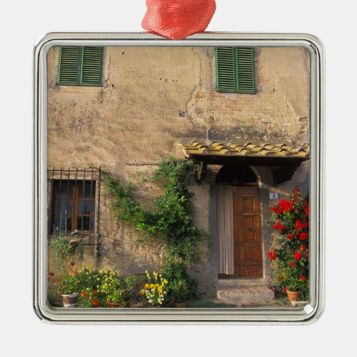Beautiful old home with flowers at San Gimignano Metal Ornament