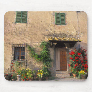 Beautiful old home with flowers at San Gimignano Mouse Pad