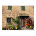 Beautiful old home with flowers at San Gimignano Postcard