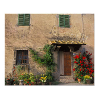Beautiful old home with flowers at San Gimignano Poster