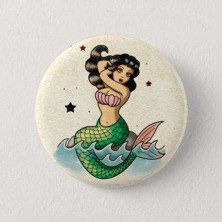 Beautiful Old School Mermaid Button