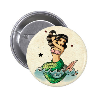 Beautiful Old School Mermaid 2 Inch Round Button