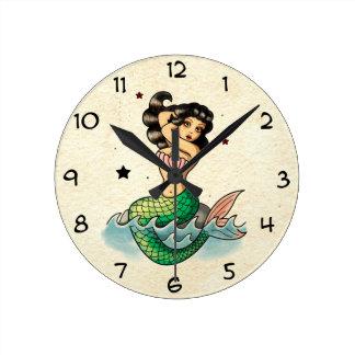 Beautiful Old School Mermaid Round Wall Clock